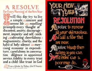 Early 20th-century New Year's resolution postcards